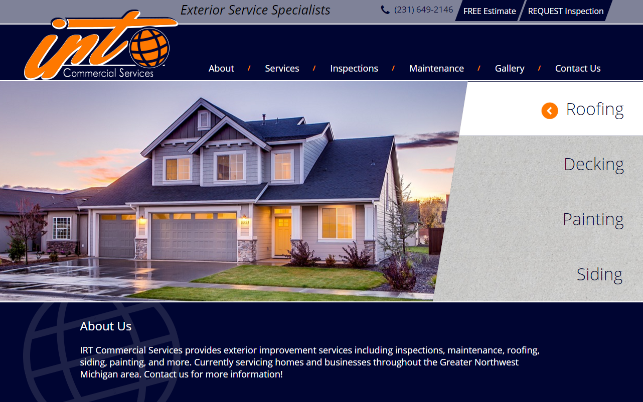 irt commercial services website screen